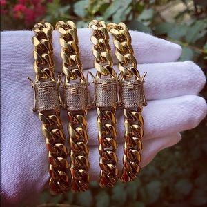 💎 14K PVD Gold Miami Cuban Link Bracelet 💎